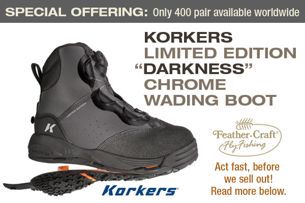 "LIMITED EDITION Korkers ""Darkness"" Chrome Wading Boots are HERE!"